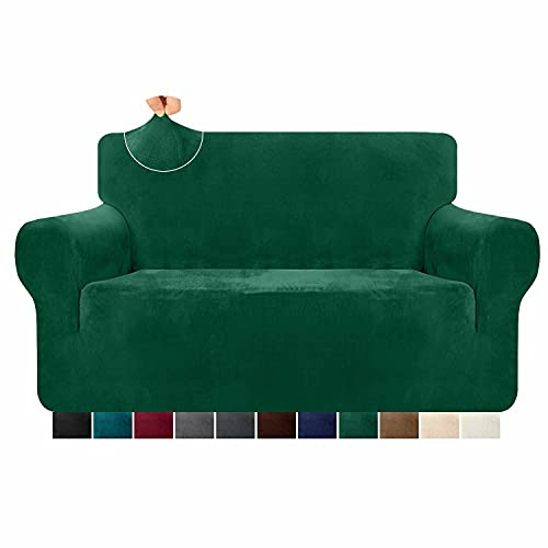 Granbest 1 Piece Luxury Stretch Velvet Sofa Cover for 2 Seater Couch Ultra Soft Thick Plush Couch Cover Pet Hair Proof Loveseat Sofa Slipcover Furniture Protector for Pets (2 Seater, Dark Green)