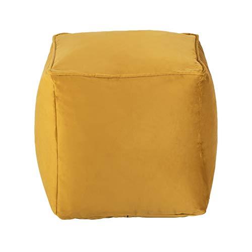 Loft 25 Premium Cubed Velvet Bean Bag Footstool | Indoor Home Living Room Filled BeanBag Pouffe | Ergonomic Design for Body Support | Durable & Comfortable (Turmeric Yellow)