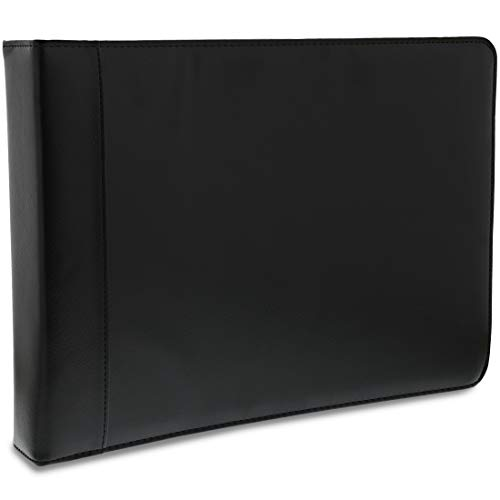 Juvale 7 Ring Business Check Binder with Zipper, Black