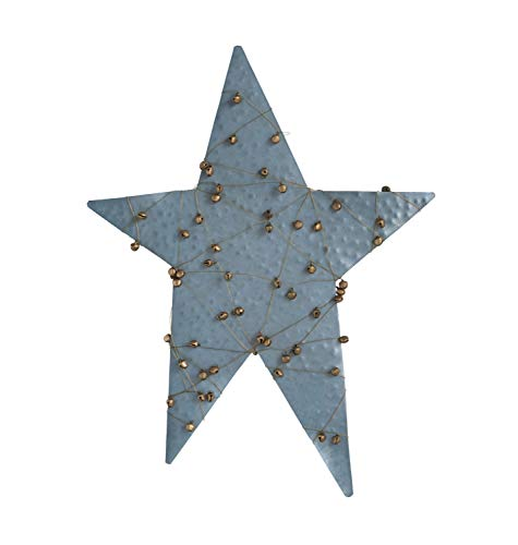 Creative Co-op Blue Metal Star Tree Topper Wrapped in Jingle Bells Figures and Figurines