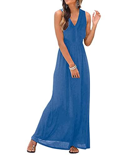 LilyCoco Maxikleider Damen Sexy Sommer Kleider Sommerkleid für Damen Lang Leicht V-Ausschnitt Blau L