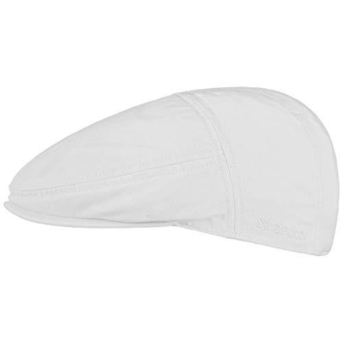 Stetson Paradise Cotton Schirmmütze weiß Herren - Flatcap mit UV-Schutz 40+ - Herrenmütze aus Baumwolle - Flat Cap Größen M 56-57 cm - Schiebermütze Sommer/Winter