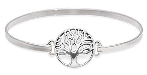 Heather Needham Sterling Silver Tree of Life bangle - Solid Silver Bangle - Size:3 mm wide x 63mm x 50mm (internal). Tree of life size: 13mm. Tree of Life bracelet - Gift boxed. 3097