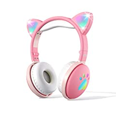 【LED LIGHTS AND CAT EAR HEADPHONES FOR KIDS】Aresrora updated model kids headphones is a kawaii wireless bluetooth headphones with a pair of shining cat ear over head and the glowing cat paw at the sides. The cat ear and paw both have Red/Blue/Green L...