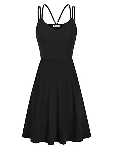 Moyabo Sommerkleid Damen Midilänge Ärmelloses Swing Kleid Blumen Verstellbare Spaghettiträger floralem Strandkleid mit Taschen,Schwarz,L
