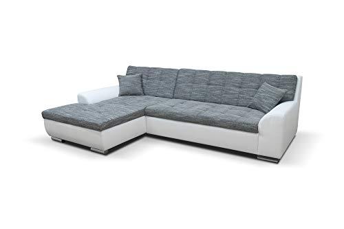 Domo Collection Ecksofa Treviso / Sofa mit Schlaffunktion in L-Form / 267 x 178 x 83 cm / Sitz weiss grau / Kunstleder schwarz