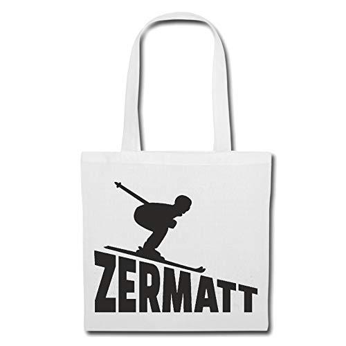 Tasche Umhängetasche Zermatt - SKI-Ort - Skifahren - SKILIFT - SKILEHRER Einkaufstasche Schulbeutel Turnbeutel in Weiß