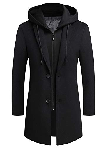 ebossy Men's Notch Lapel Single Breasted Wool Blend Top Coat with Detachable Hooded Bib (Small, Black)