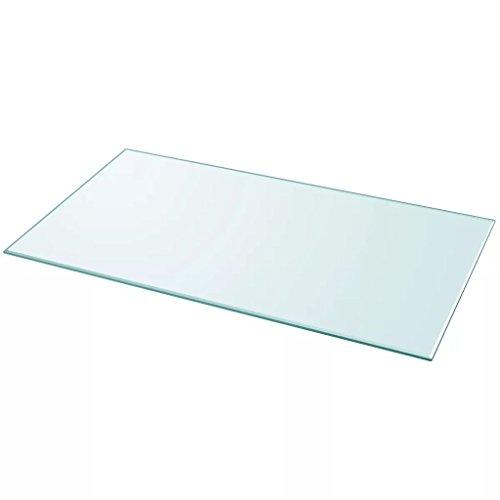 Nishore Tablero de Mesa de Cristal Templado Cuadrado - Color de Transparente Material de Vidrio Templado, Tamaño 1200 x 650 mm Grosor 8 mm