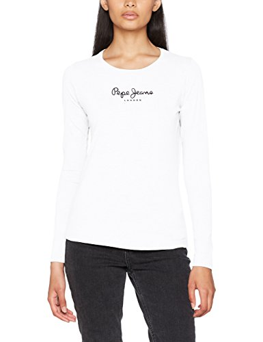 Pepe Jeans New Virginia LS PL502755 Camiseta, Blanco (White 800), Medium para Mujer