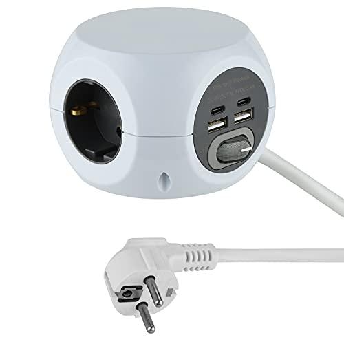 Electraline 62078 Mini Cubo con 3 puertos USB 2.4 A, con 3 tomas con interruptor, Cable 1,5M, Blanco