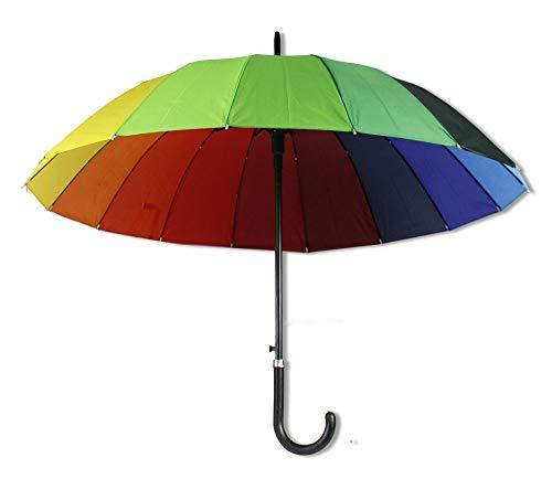 Vetrineinrete® Ombrello 16 stecche multicolore unisex antivento per esterno ombrello arcobaleno per riparare dalla pioggia resistente richiudibile con apertura automatico a scatto P26