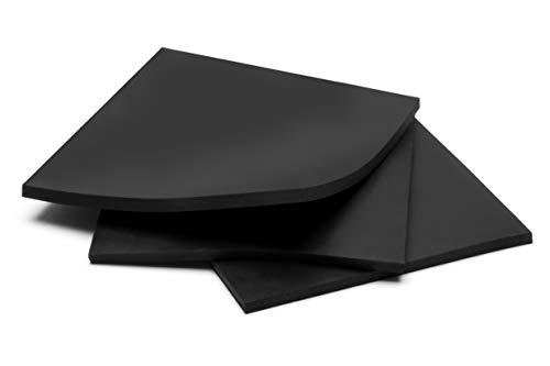Rubber Sheets, Black, (Pack of 3) 6x6-Inch by 1/4 (+/-5%) High Grade Shore 60A Neoprene, Plumbing, Gaskets DIY Material, Supports, Leveling, Sealing, Bumpers, Protection, Abrasion, Flooring