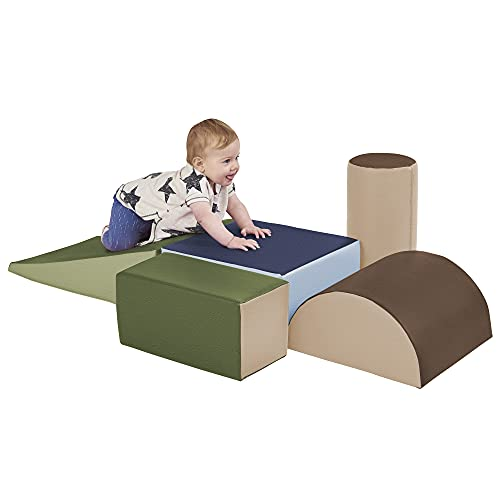 ECR4Kids SoftZone Climb and Crawl Activity Play Set, Lightweight Foam Shapes for Climbing, Crawling and Sliding, Safe Foam Playset for Toddlers and Preschoolers, 5-Piece Set, Earthtone