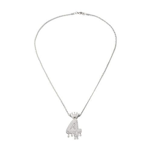 SSUPLYMY Alphanumerische Anhänger Halskette, Zirkon Tropfen Krone Anhänger Halskette Männer und Frauen Geschenk Schmuck Wassertropfen Krone Alpha Anhänger Halskette