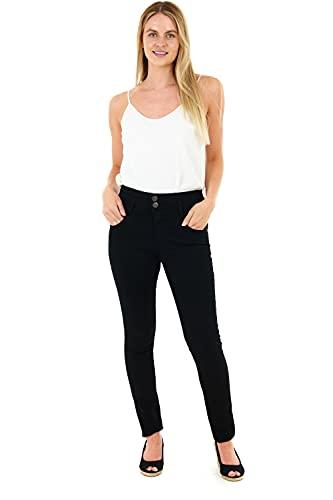 M17 Damen Jeans mit hoher Taille, Doppelknopf, legere Baumwollhose mit Taschen Gr. 44, Schwarz