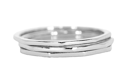 Pura Vida Silver Delicate Stacked Rings - Brass Base .925 Sterling Silver - Size 9
