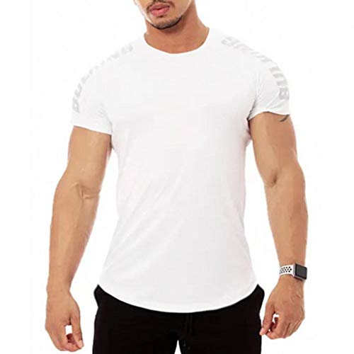 Skxinn Funktionsshirt/Herren Gym Fitness T-Shirt Kompressionsshirt Slim Fit Seamless Männer Bodybuilder Trainingsshirt Kurzarm Top Jungen Sportshirt Laufshirt Bekleidung Sonderverkauf(Z3-Weiß,M)