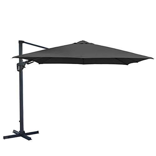 Charles Bentley Freien Vielseitig Regenschirm Schirme - Wasserfest - Einfach zu Bedienen Kurbel / Griff Bedienung Einstellbar Winkel - Grau