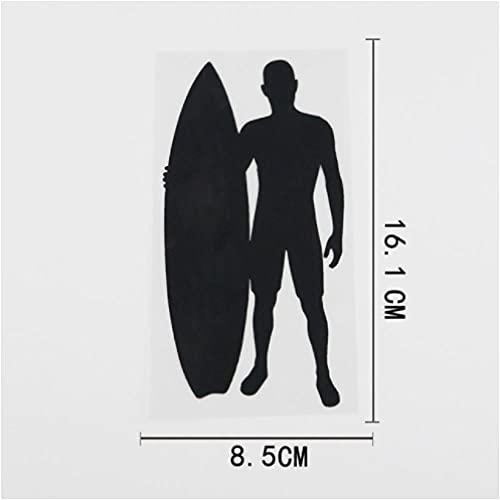 Gbrand 4 Piezas Etiqueta engomada del coche16.1CMX8.5CM Surfista Tabla de Surf calcomanía Deportiva Vinilo Etiqueta engomada del Coche Negro