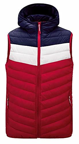 Heren gilets lichtgewicht capuchon mannen lichtgewicht capuchon vest, mouwloos lente en herfst winter vest, warm gewatteerde jas, casual sport stijl, Rood, 4XL
