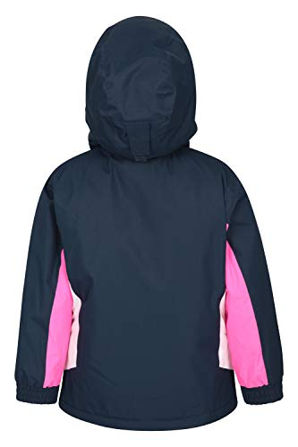 Mountain Warehouse Honey Kids Fleece Lined Ski Jacket - Snowproof Childrens Jacket, Integrated Snowskirt - for Winter Sports, Snowboarding Indigo 11-12 Years