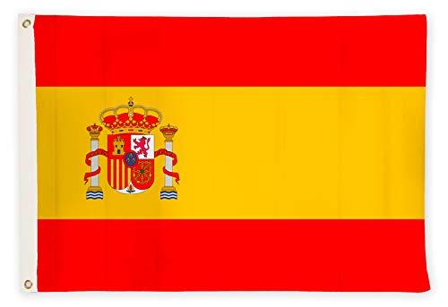 Aricona Spanien Flagge - Spanische Nationalflagge 90 x 150 cm mit Messing-Ösen - Wetterfeste Fahne für Fahnenmast - 100% Polyester