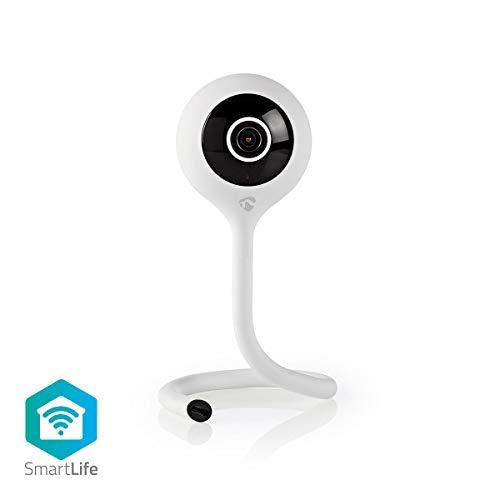 Nedis - Wi-Fi smart IP-camera - Klimaat sensor - Full HD 1080p - Kijkhoek van 110° - Nachtzicht - 2-Wegs Audio - Ondersteunt microSD-kaarten tot 128GB - Met Zelfklevend Pad