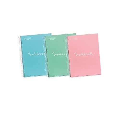 Miquelrius - Pack 3 Cuadernos A4 Cuadriculados Emotions - Espiral Microperforado, Cubierta de Cartón Forrado, Tamaño 210 x 297 mm, 4 taladros, 80 Hojas de 90 g, Cuadrícula de 5x5 m, Intensos
