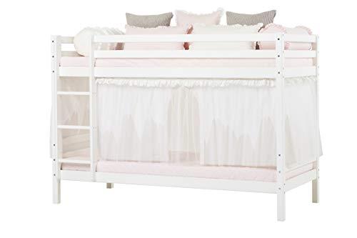 Hoppekids Basic Etagenbett mit Matratzen und Winter Wonderland Vorhänge und Tüll, Kiefer massiv und Baumwolle, Weiß, 208 x 101 x 145 cm