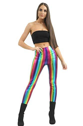 Hi Fashionz Damen Rainbow Leggings Damen Metallische PVC Hohe Taille Glänzend Retro Disco Hose - Regenbogen Gestreift, 12-14