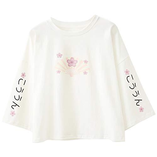 Damen Harajuku Sweatshirt Japanischer Stil Kirsche bedruckt Pullover Rundhalsausschnitt halblange Ärmel Casual Tops Bluse Gr. One size, weiß