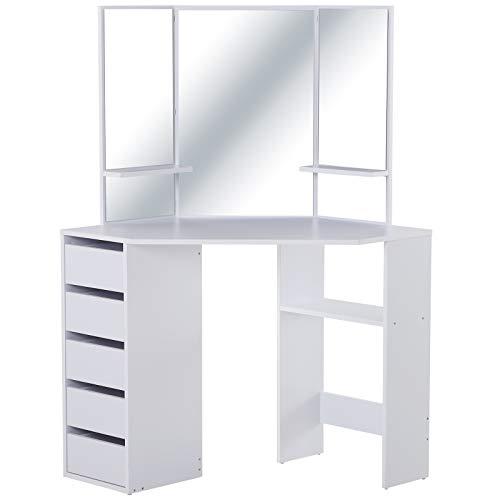 HOMCOM Schminktisch mit 3 Spiegeln und 5 Schubladen, Frisierkommode, Kosmetiktisch aus Spanplatte, Weiß, 111 x 56,2 x 141,3 cm