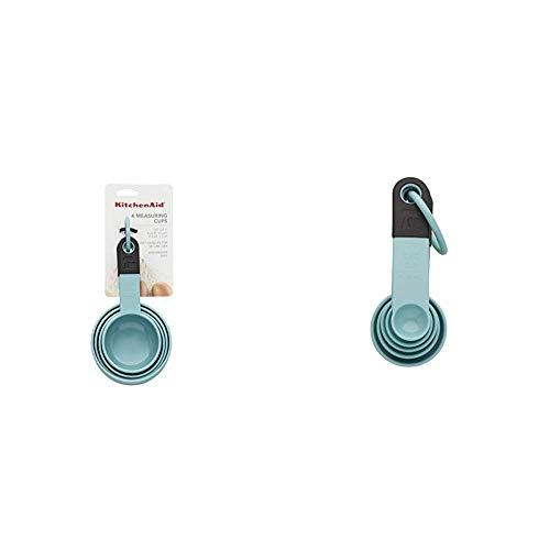 KitchenAid KE058OHAQA Classic Measuring Cups, Set of 4, Aqua Sky/Black and Classic Measuring Spoons, Set of 5