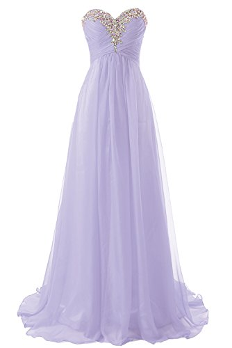 Abendkleider Ballkleider Lang Damen Brautjungfernkleid Festkleider Chiffon A Linie Lila EUR36