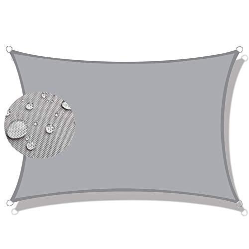 COUEO Toldo Vela Cuadrado 3.5x3.5m 95% Bloque UV Toldo Vela IKEA con Fijación Accesorios para Patio Exteriores, Gris