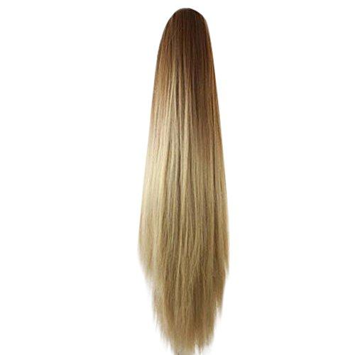 LILICAT Perruque de Femmes Femmes Mode Pince Pince Longue Ligne Droite Queue de Cheval Extensions de Cheveux Perruque postiche Longue Perruque Extension de Cheveux raides (B)