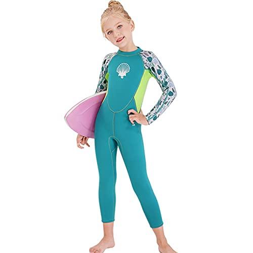 KOIJWWF Neopren 2.55mm Neoprenanzug Kinder Tauchen Anzüge Badebekleidung Mädchen Langarm Surfen Swimsuits für Mädchen Badeanzug,Blau,L