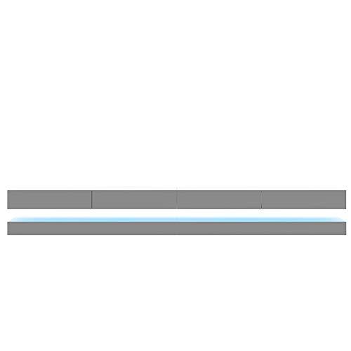 Selsey Fernsehschrank, Weiß matt/Grau Hochglanz, 280 cm