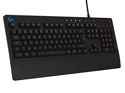 Logitech G213 Prodigy Gaming-Tastatur, RGB-Beleuchtung, Programmierbare G-Tasten, Multi-Media Bedienelemente, Integrierte Handballenauflage, Spritzwassergeschützt, Französisches AZERTY-Layout- Schwarz