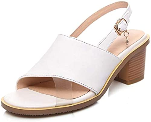 MENGLTX 2019 Plus Größe 33-43 33-43 33-43 Quadrat Fersen natürlichen Echtleder Damenschuhe Frau Mode Sommer Sandalen Schuh  Beliebt