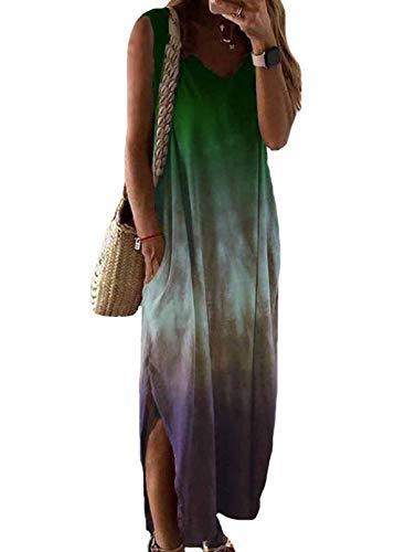 CORAFRITZ Vestido largo sin mangas teñido con lazo, casual, cuello en V, dobladillo dividido