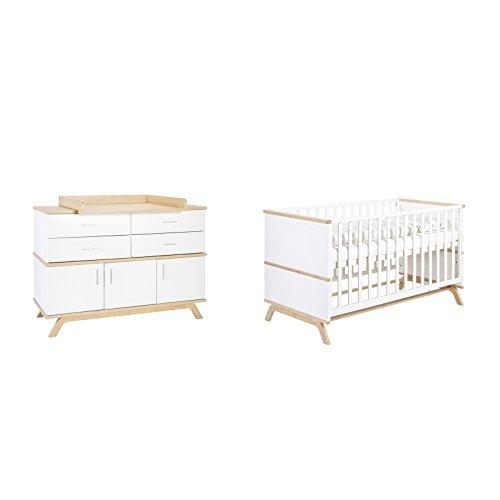 Schardt 10 978 26 02 Sparset Vicky Oak bestehend aus Kinderbett, Umbauseiten und Wickelkommode, weiß