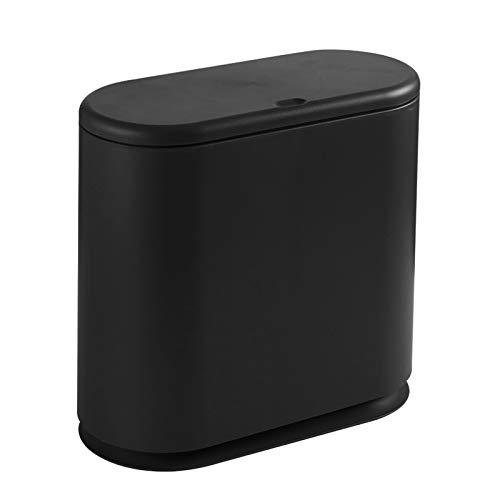 PENGKE - Papelera de plástico delgado, 2.4 galones con tapa superior a presión, cesta de basura moderna negra para baño, sala de estar, oficina y cocina