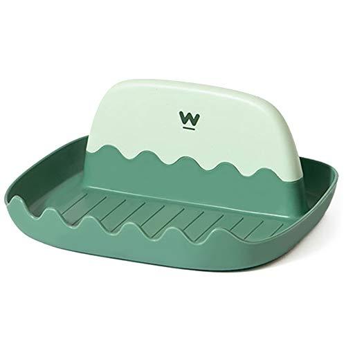 Porta Cucharas Cocina con Goteo Pad Plástico sin BPA, Resistente al Calor Estante de Espátula para Utensilios Varios (Espátulas, Cucharas, Tenedores, Batidores, Tapas, etc.), Fácil de Limpiar (Verde)