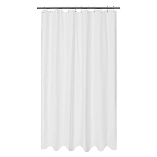 Mrs Awesome Embossed Microfiber Fabric Extra Long Shower Curtain Liner 96 inches Length, Washable and Water Repellent, White