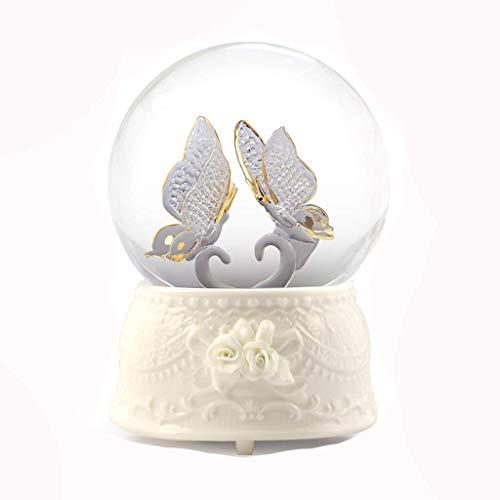 Music Box Glaskugel Spieluhr Kristallkugel-Spieluhr Dekoration kreatives Geschenk (Größe: Friedenstaube) XIUYU (Size : Butterfly)