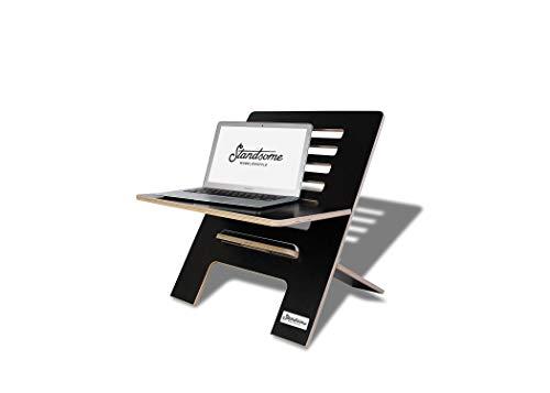 Standsome Slim Black – Der Stehschreibtisch Aufsatz aus Holz, höhenverstellbarer Schreibtisch Aufsatz, Sitz Stehtisch schwarz und Schreibtisch Erhöhung
