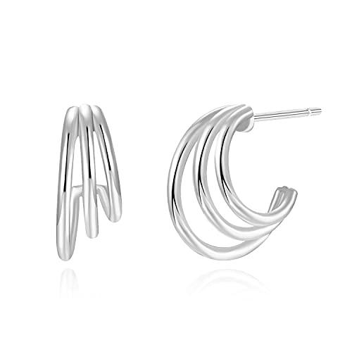 Bellaboho 14K Gold Plated 925 Sterling Silver Claw Stud Earrings - Hypoallergenic (Silver)