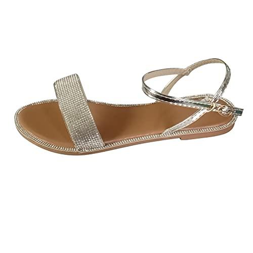 YANFANG Sandalias Planas Y Redondas De Verano para Mujer, Zapatos con Correa Hebilla Cristal Informales Al Aire Libre,Sandalias Diamantes ImitacióN Punta Redonda Talla Grande Mujer